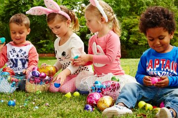 Children post Easter egg hunt